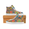 peace hippie 3 slip on Slip-on Canvas Women's Shoes (Model 019) (Two Shoes With Different Printing)