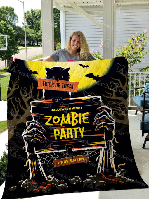 Zombie Party Halloween Quilt Blanket 01277