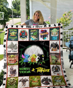 Baby Yoda And Toothless Quilt Blanket 02335