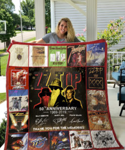 50 Years Of ZZ Top Thank You For The Memories Quilt Blanket